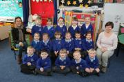 Reception children in Starfish class at Durweston Primary School with teacher Judith Cresswell and TA Tanya Gedye