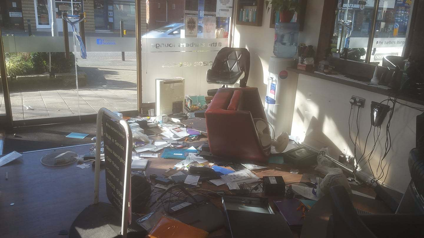Thieves smashed up the reception area at The Barbers Lounge in Broadstone on February 4. Picture: The Barbers Lounge.