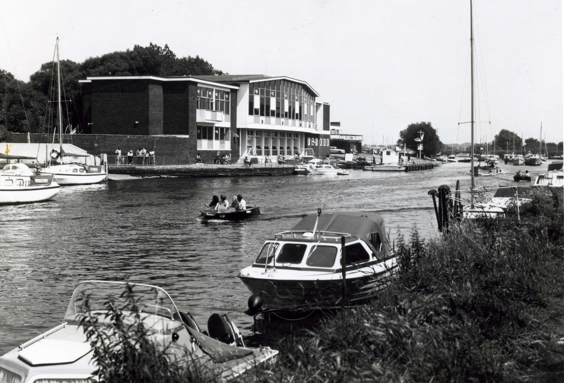 The main club house of Pontins Holiday Camp overlooking the River Stour in Christchurch, 1987