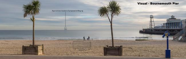 Image showing the proposed oil rig as 'viewed' from Bournemouth beach