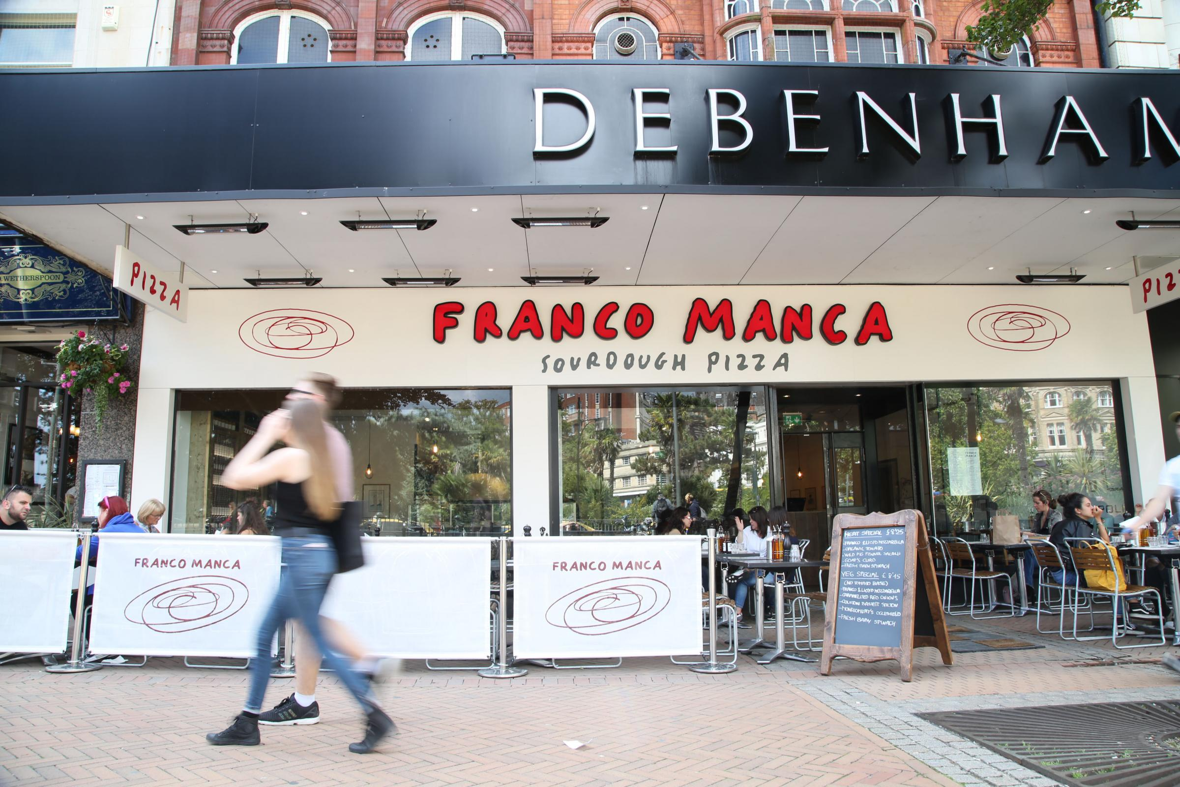 The Franco Manca pizza restaurant in the Debenhams building in Bournemouth town centre