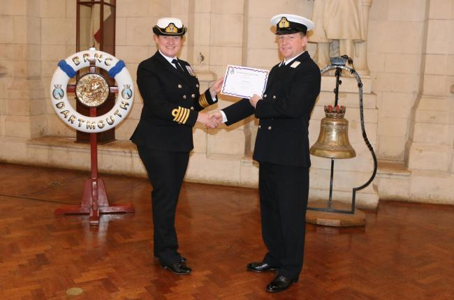Christchurch reservist sails through training bournemouth echo complete midmanship scott swales receiving his certificate from captain sue jameson captain training royal yelopaper Choice Image