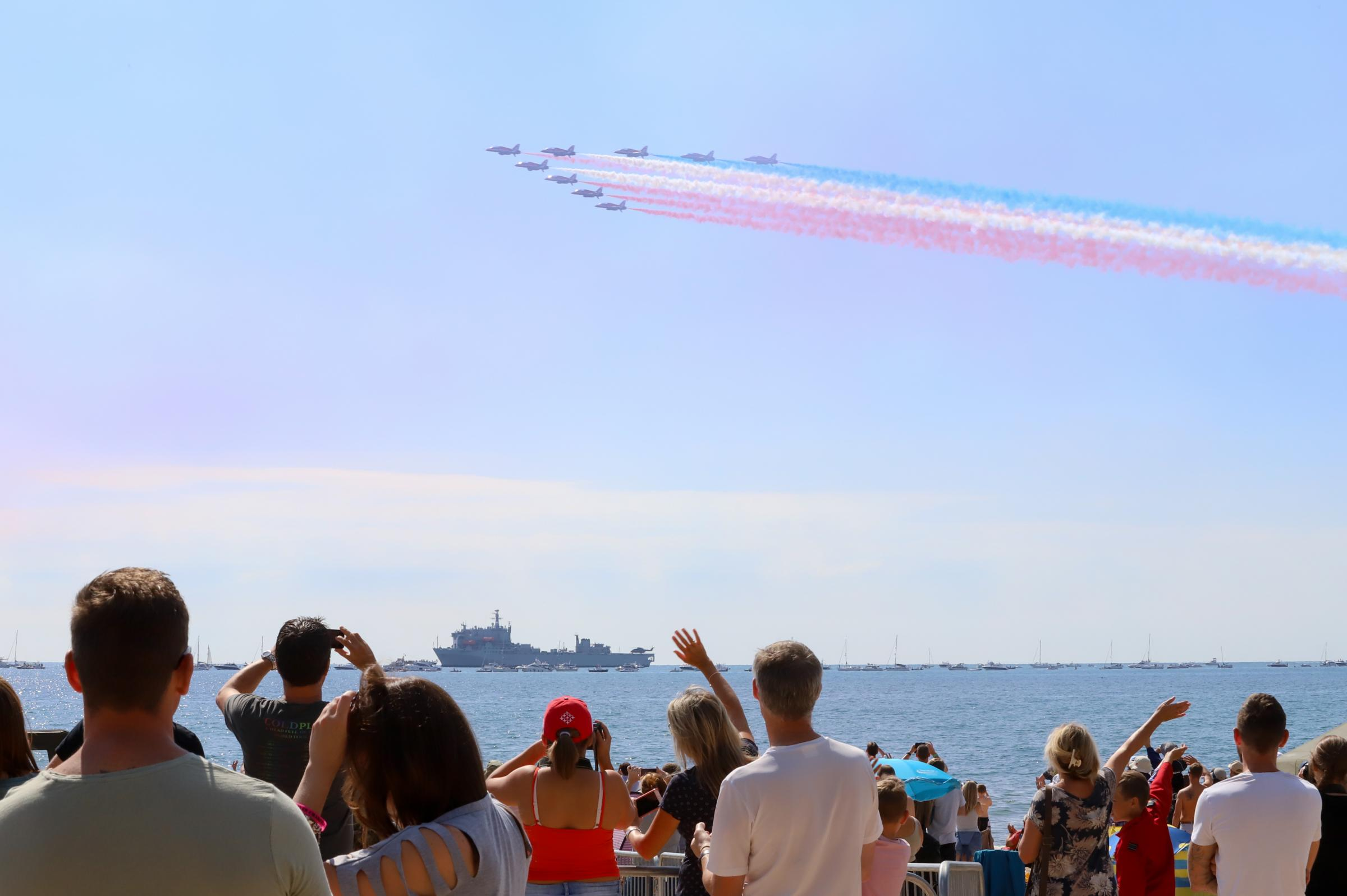 The Red Arrows performing at the Bournemouth Air Festival 2017.