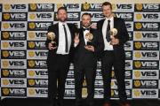 Bournemouth University graduate Amir Bazazi (centre) at the VES awards