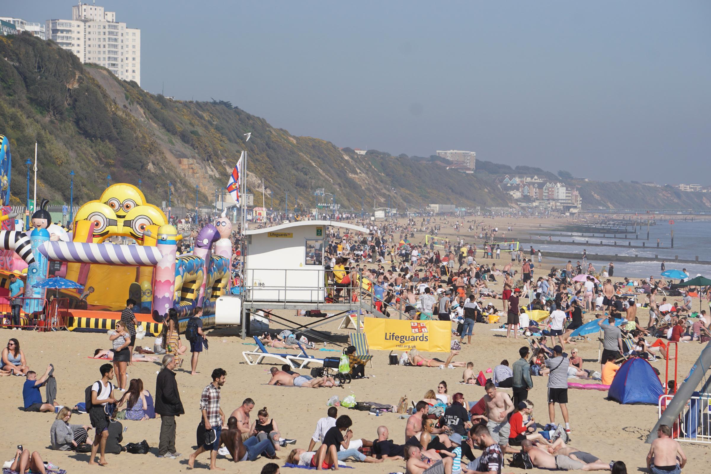 Bournemouth beachgoers enjoy the hot April weather