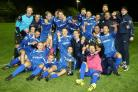 PARTY TIME: Christchurch celebrate with the Sydenhams Wessex One trophy (Picture:John Wright/ChristchurchFC)