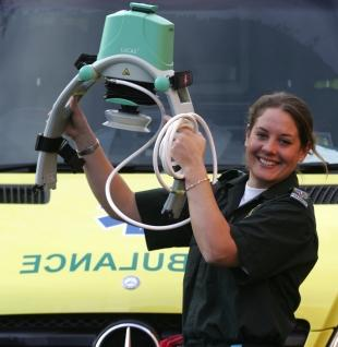 BACK IN SERVICE: Paramedic Michelle Evans with the £6,000 Lucas device
