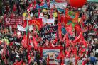 Demonstrators during a TUC rally in central London (Gareth Fuller/PA)