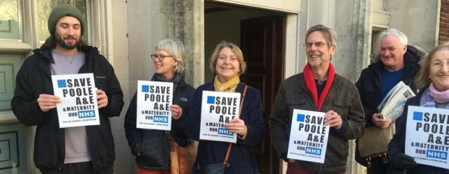 CHALLENGERS: Members of Defend Dorset NHS, including Debby Monkhouse of Swanage Labour (centre)