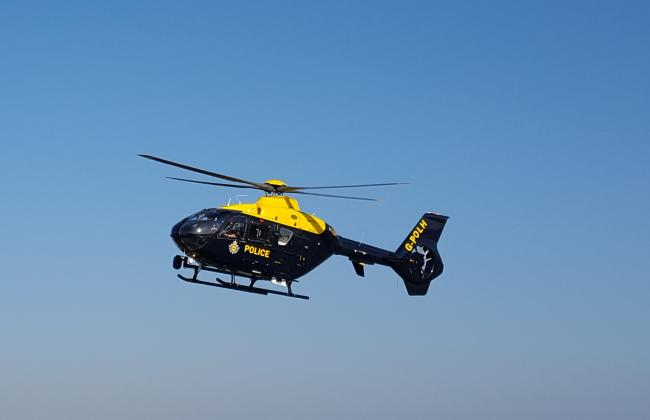 The NPAS helicopter assisted police searches after the incident took place. Picture submitted by NPAS