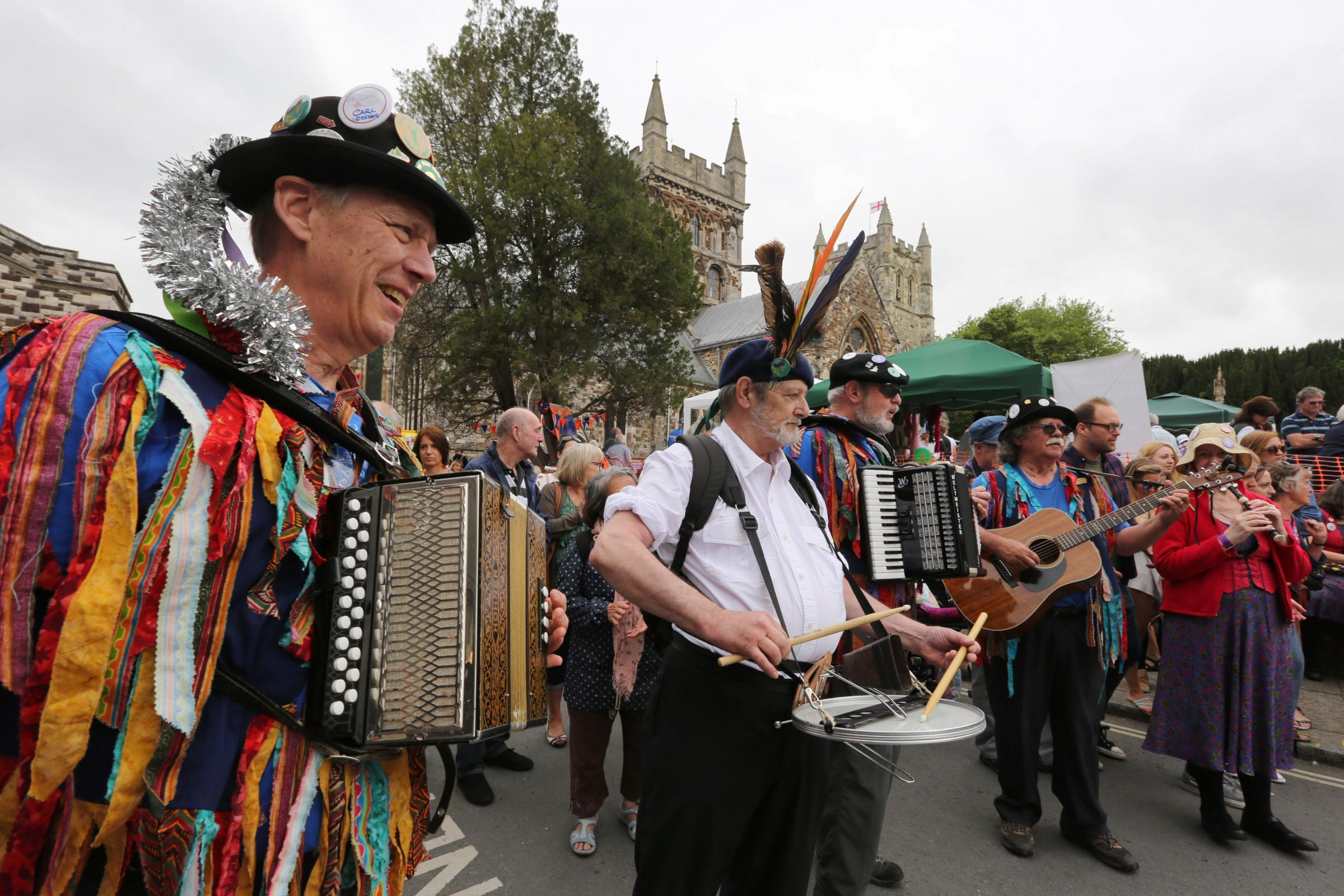 Wimborne Folk Festival. The main parade heads through the town..