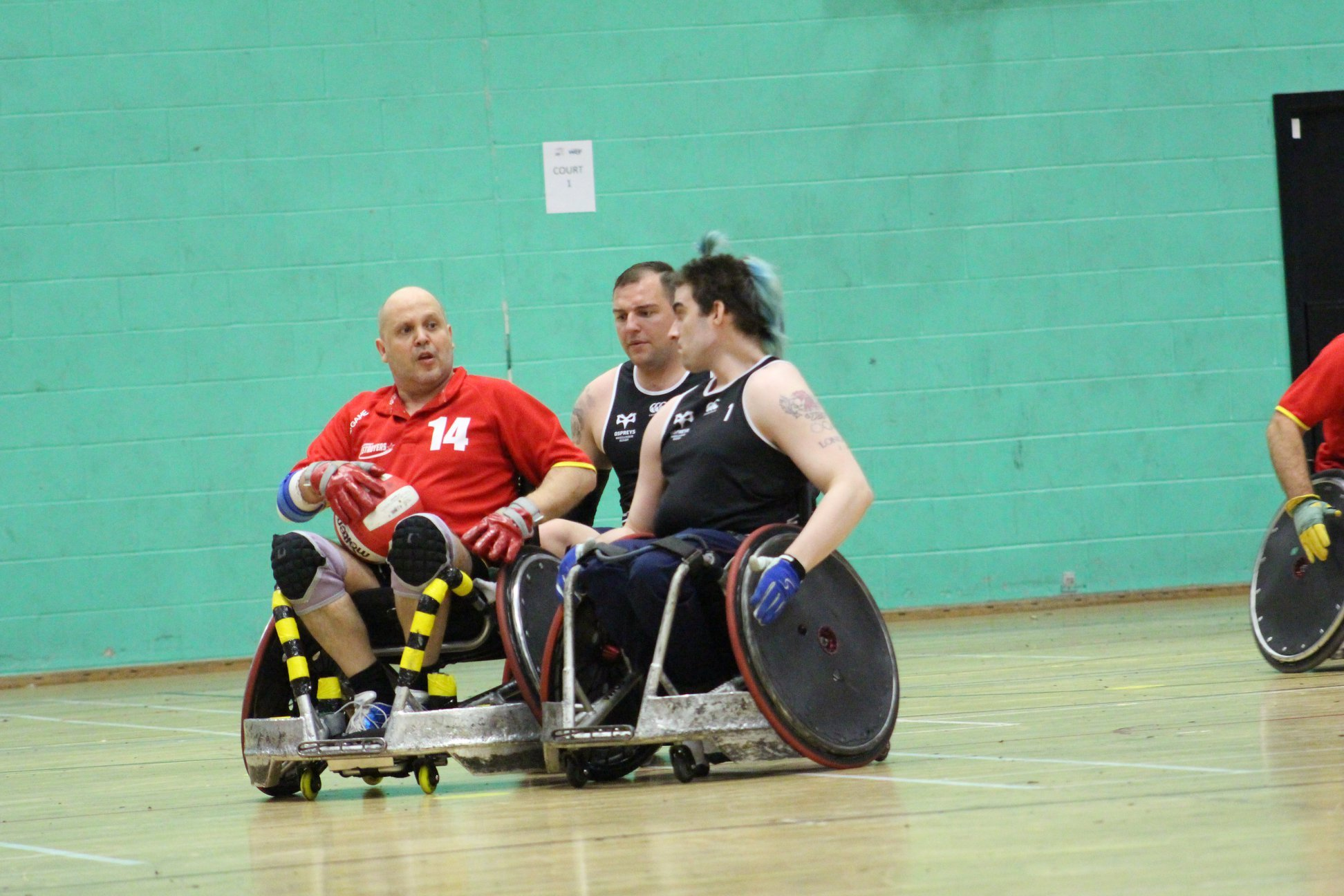 Nick Coombs, chairman of the Dorset Destroyers, in action against David Anthony (ex-Team GB) and Stevie Boulton (Invictus UK Team)