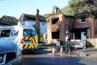 A police cordon in place at 9 The Avenue in West Moors following a fire which has gutted the property. ..