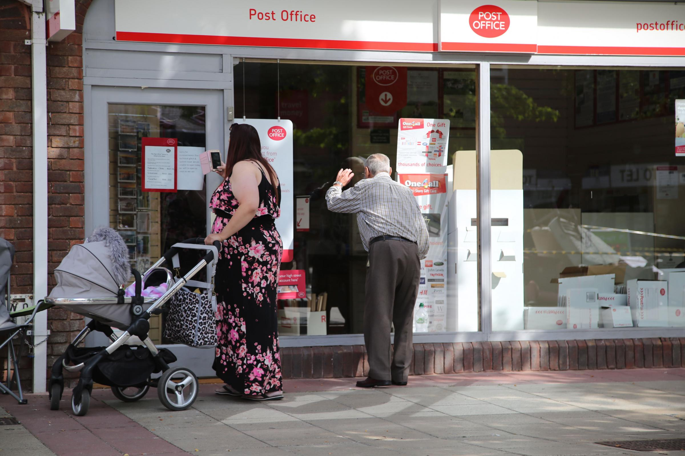 The Post Office at Saxon Square in Christchurch which has closed due to a 'technical glitch and system issues'..