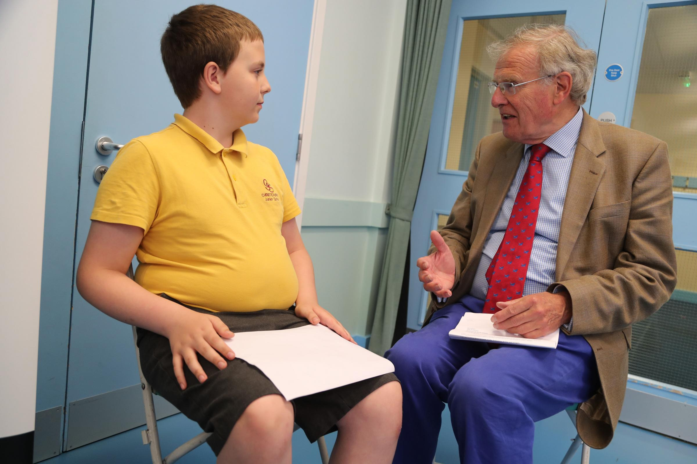 Christchurch MP Sir Christopher Chope at the Christchurch Junior School careers day where he spoke to potential future MP's about a career in politics. ..