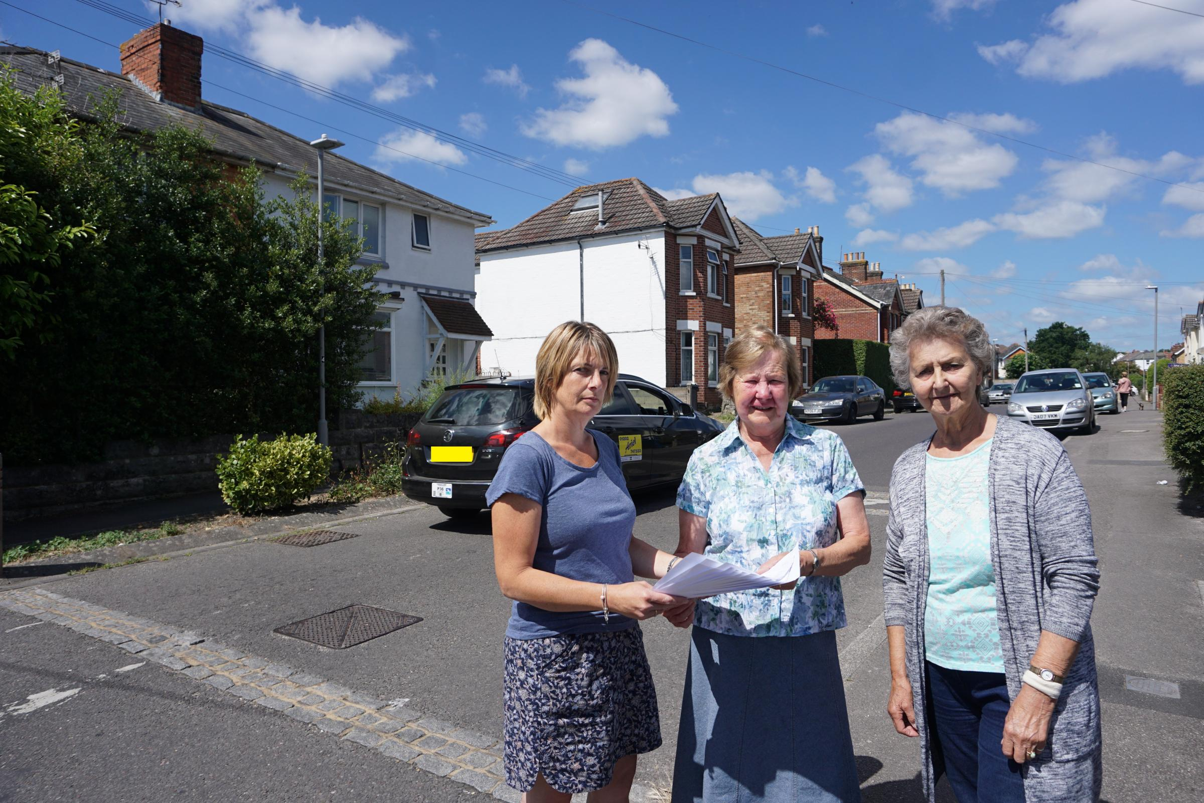 Recreation Road residents Cindy Harris and Barbara Reeve with Cllr Marion Le Poidevin (centre)