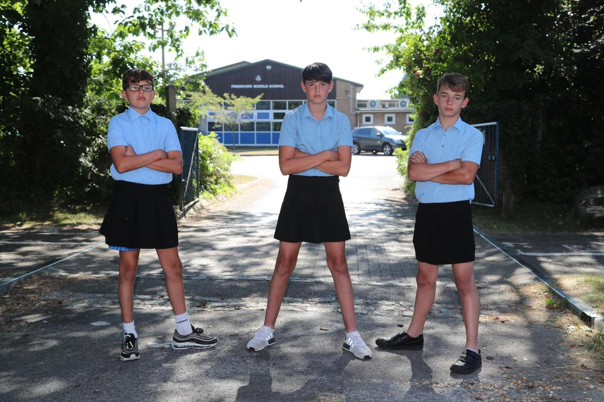 Boys wear skirts to school in Bournemouth in protest at ban on shorts |  Bournemouth Echo