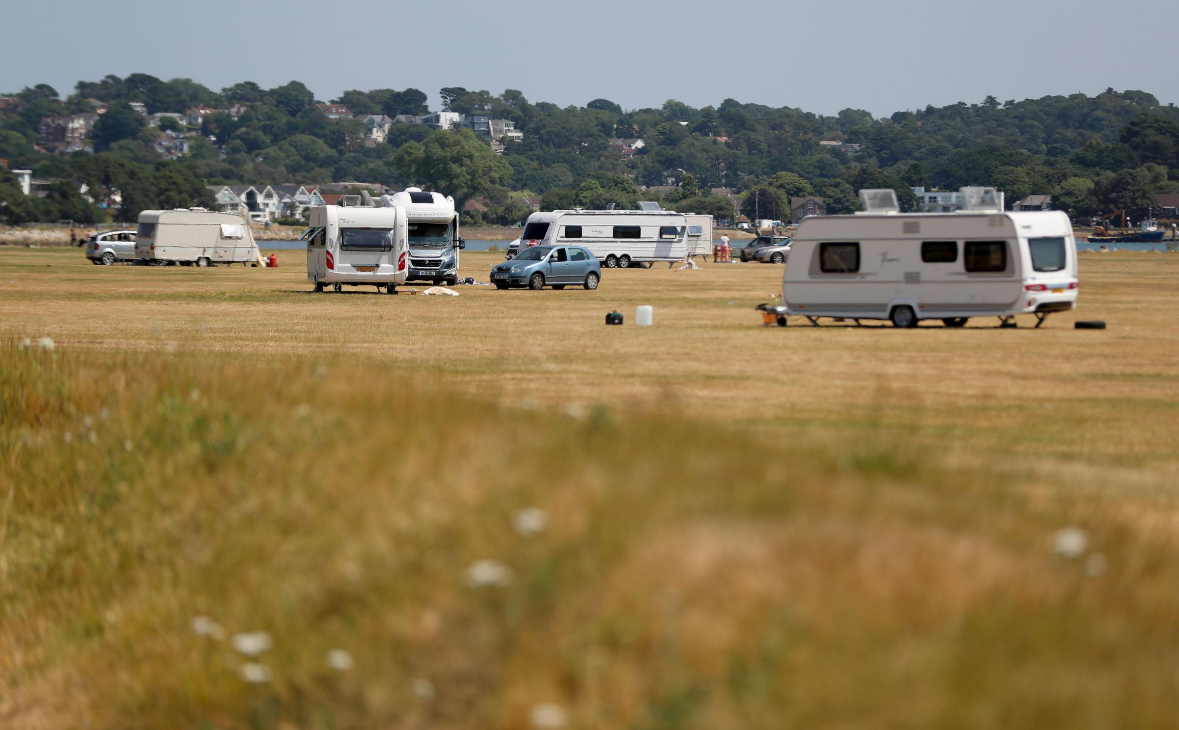 UNAUTHORISED: Travellers at Baiter Park in Poole