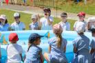Pupils at Springdale First School in Broadstone take part in the 'plastic boat challenge' as part of a world record attempt..