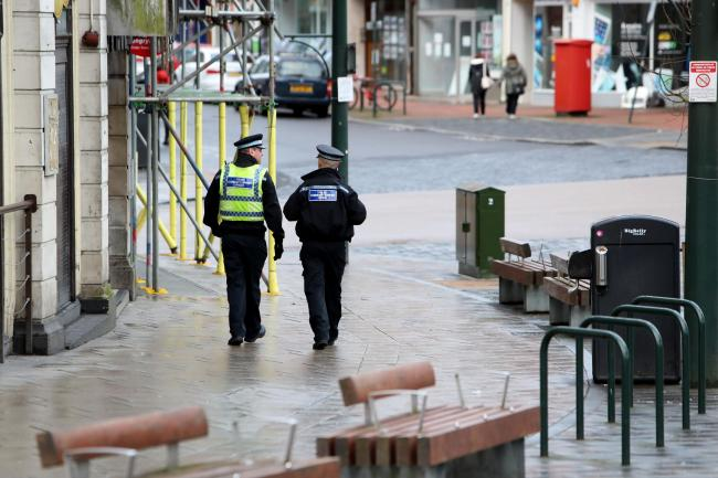 Dorset Police patrol in Bournemouth town centre.