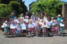 Prizewinners with Wimborne in Bloom chair Richard Nunn and committee secretary Susie Gatrell. Image by Anthony Oliver