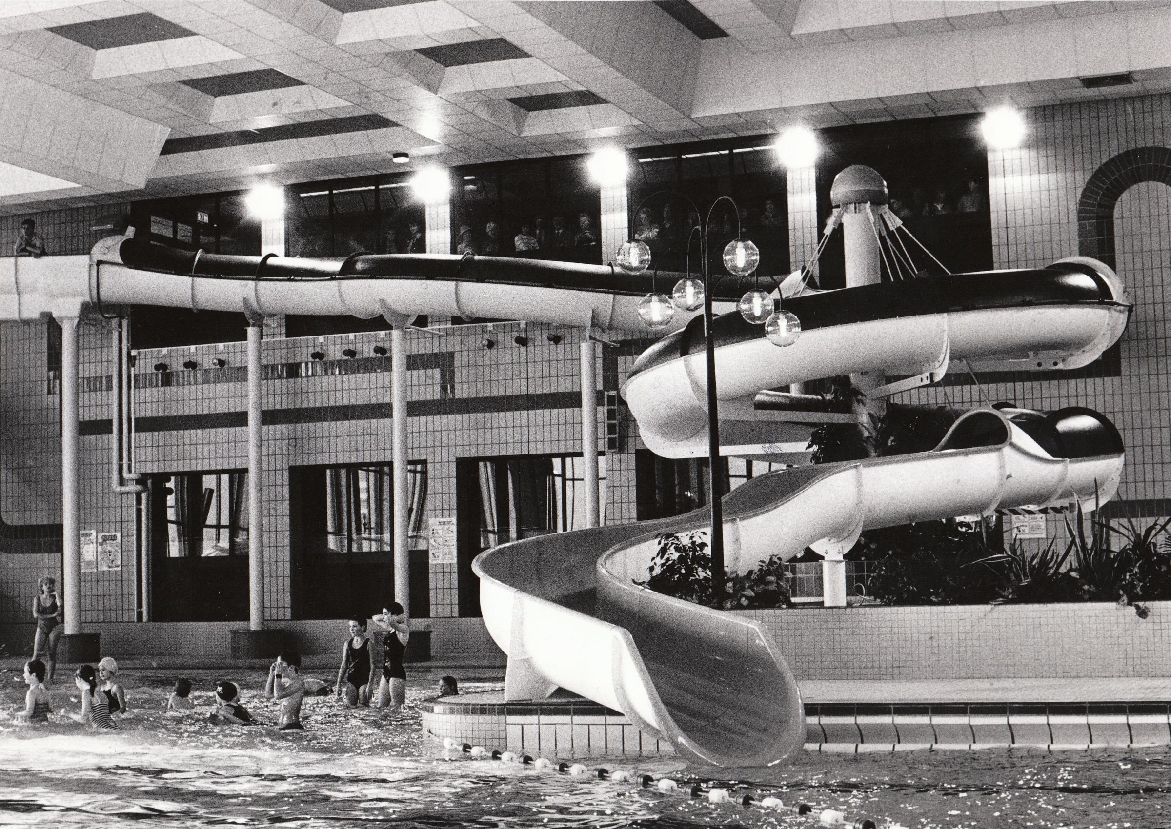 The new Hydro slide at the BIC swimming pool in 1986. Bournemouth Echo picture.