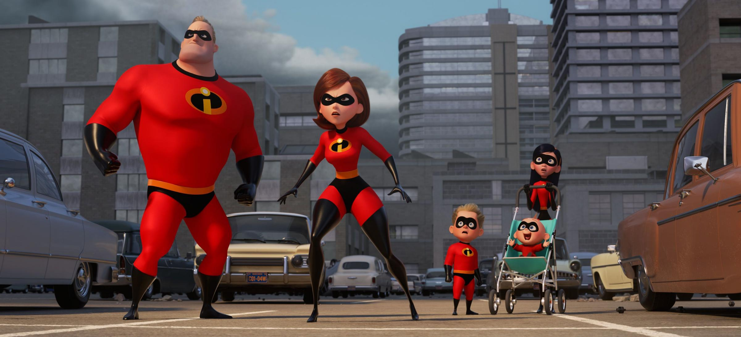 Undated film still handout from Incredibles 2. Pictured: Mr Incredible (voiced by Craig T Nelson), Elastigirl (Holly Hunter), Dash (Huck Milner), Jack-Jack (Eli Fucile) and Violet (Sarah Vowell). See PA Feature SHOWBIZ Film Reviews. Picture credit should