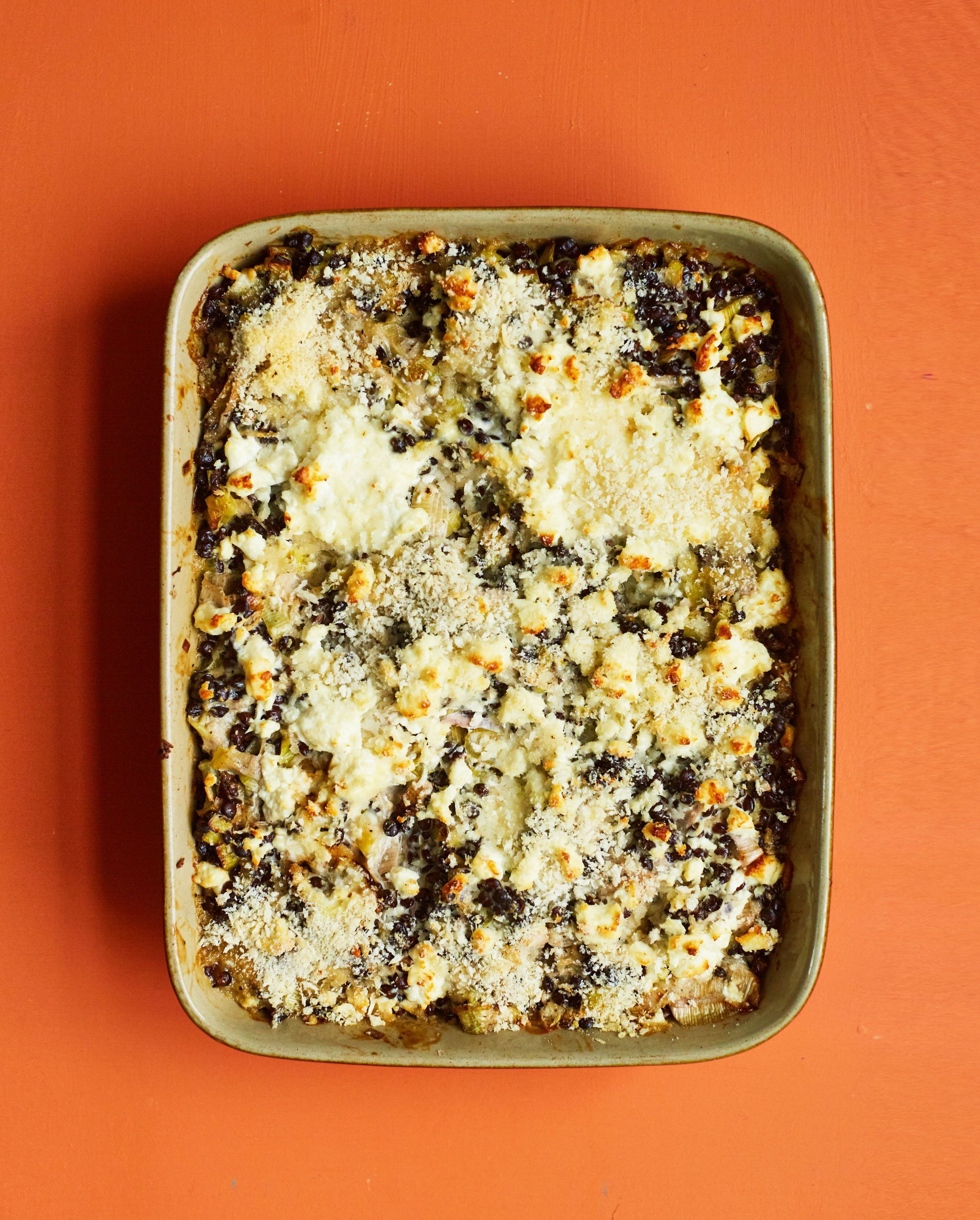 Undated Handout Photo of leek and puy lentil gratin from The Green Roasting Tin by Rukmini Iyer. See PA Feature FOOD Recipe Lentil Gratin. Picture credit should read: PA Photo/David Loftus. WARNING: This picture must only be used to accompany PA Feature F