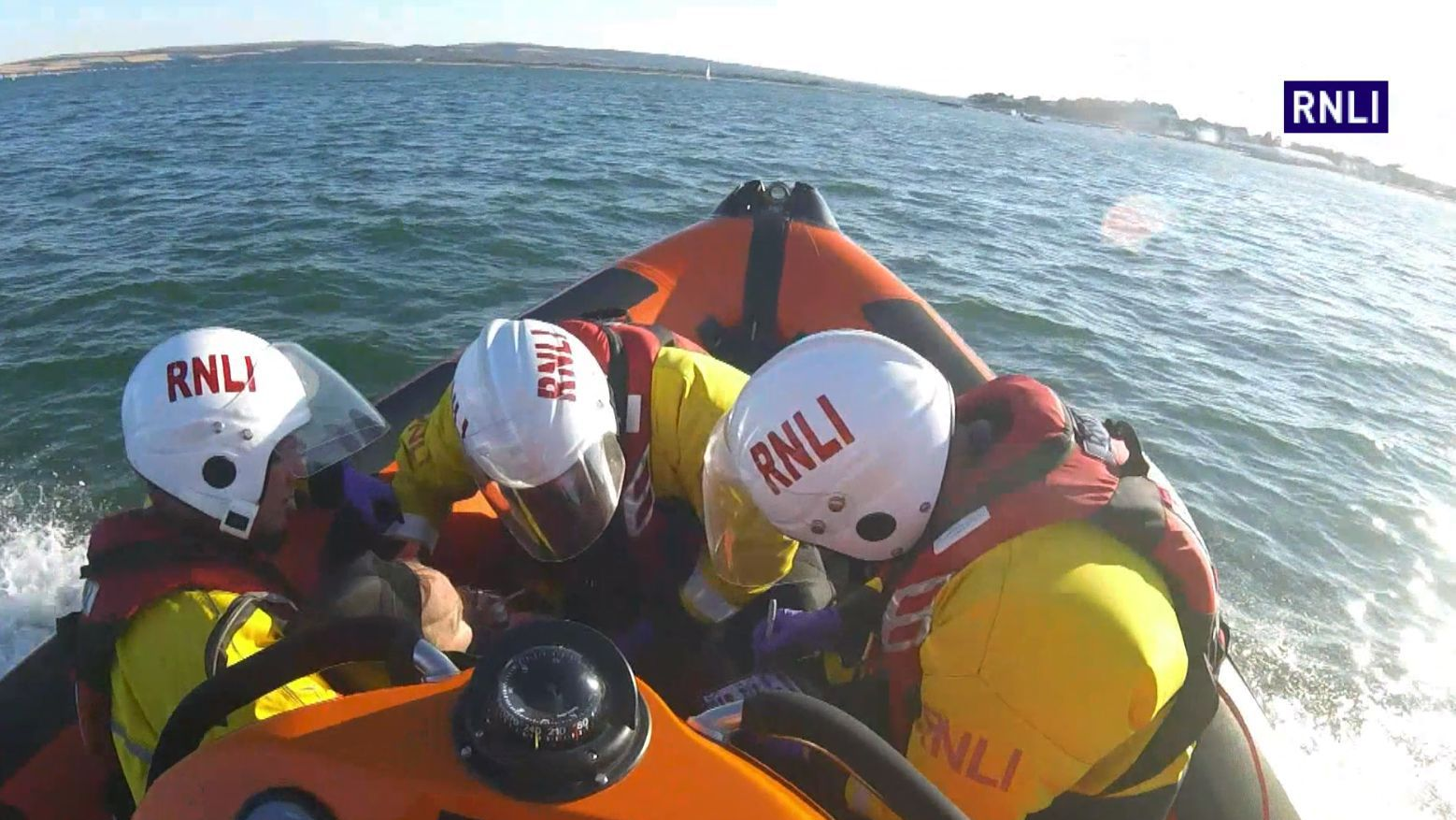 RNLI rescue elderly swimmer off Sanbanks Beach, picture courtesy of RNLI