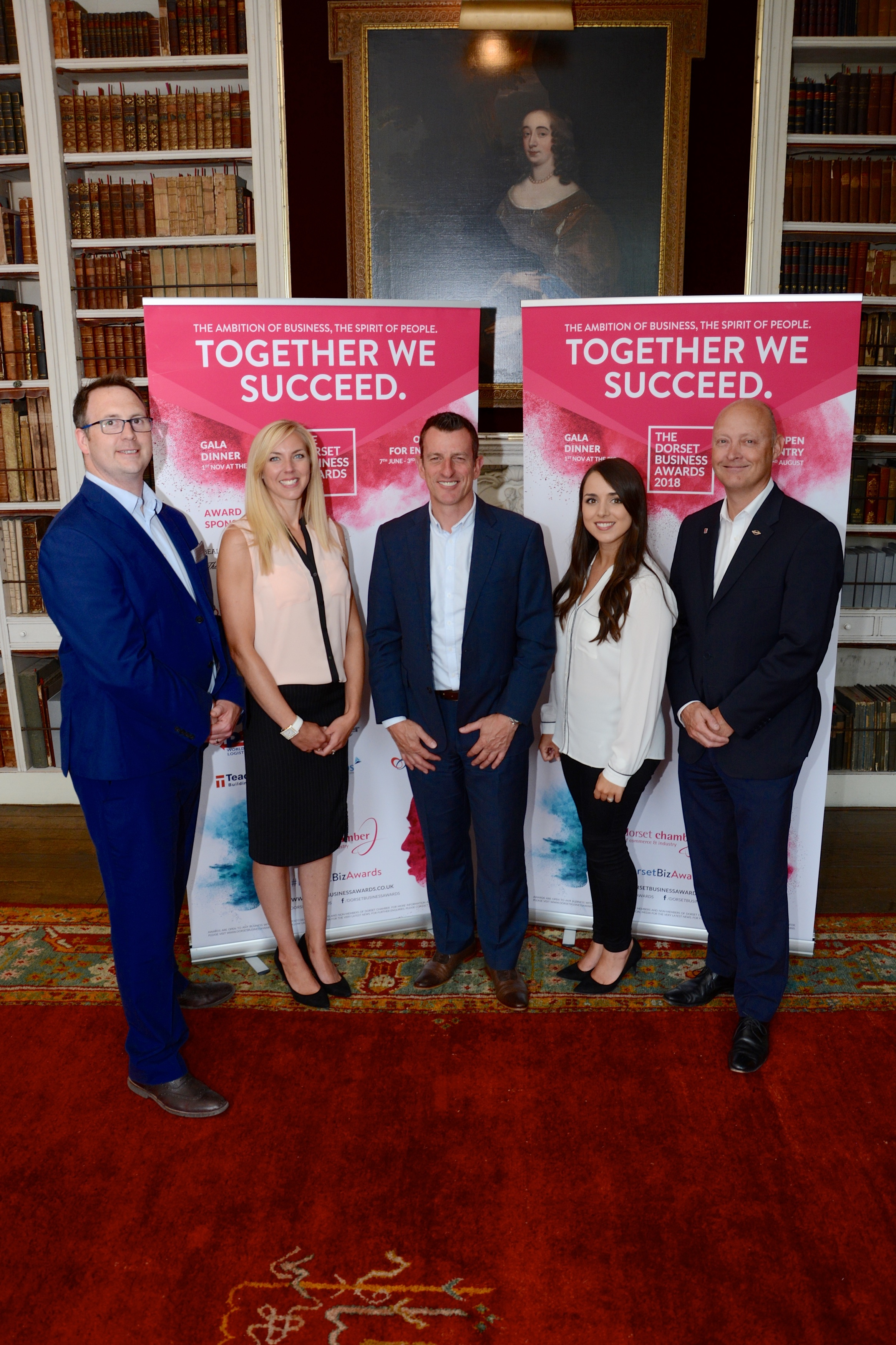 BACKERS: L-r Stuart Dixon and Hayley Moore of Dorset Chamber, Simon White of Enhanced, Vikki Southern of the chamber and Bryan Jones of Sunseeker
