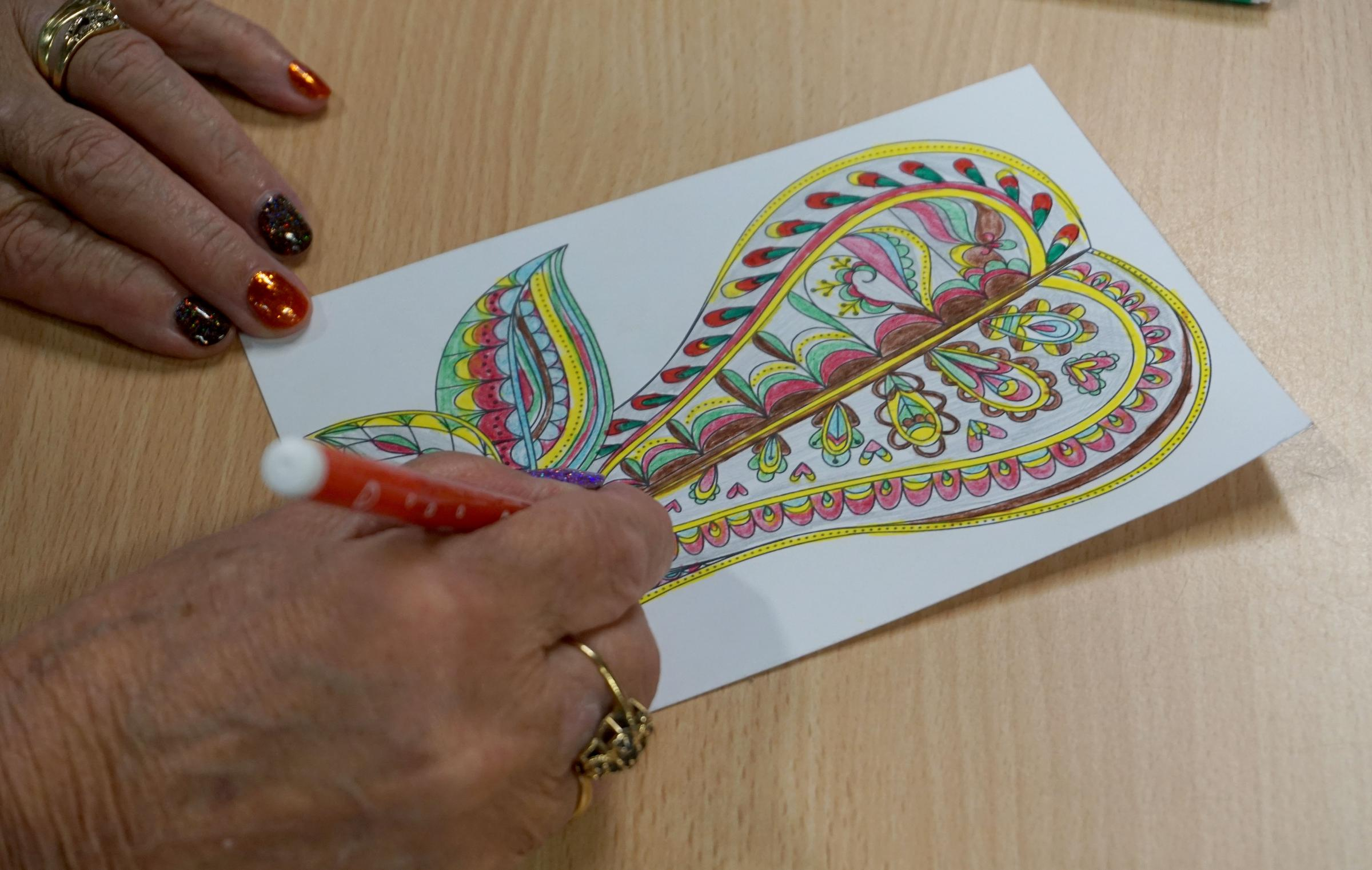 People take part in a colouring-in class at Broadstone Library. ..Pictures - Faith Eckersall - 15/10/15 - Catchline - Rfe151015Colouring.