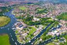 Dorset from the Air book - Christchurch Town with Christchurch Priory Church taking centre stage.Picture: Stephen Bath..