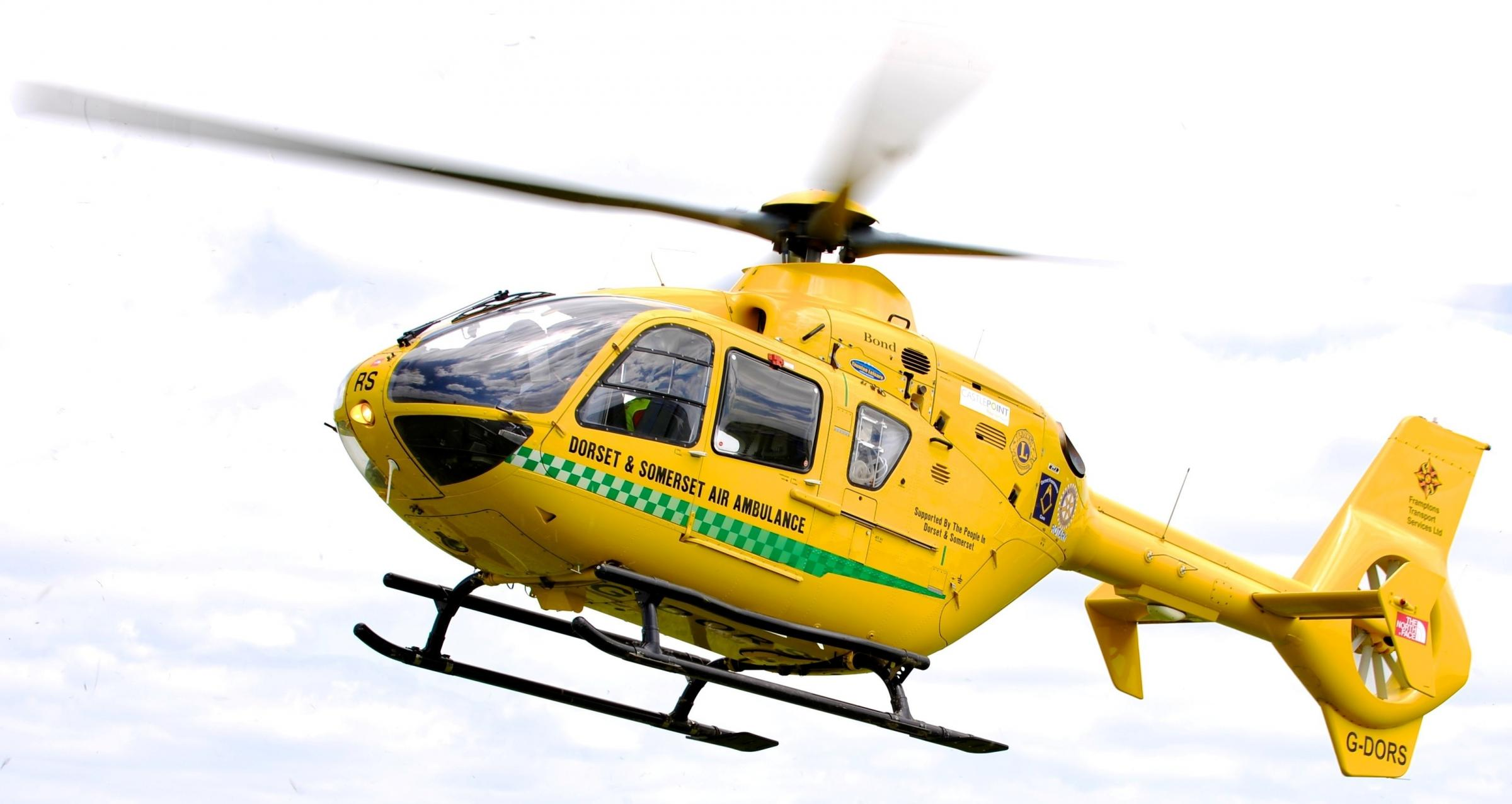 The Dorset and Somerset Air Ambulance responding to an emergency call. Supplied pic by the charity..