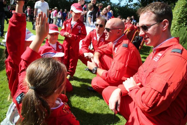 The Red Arrows meeting young fans last year.
