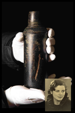 POIGNANT: The flask which Arthur West handed over before returning to the Titanic and, inset, Titanic survivor Barbara Dainton West