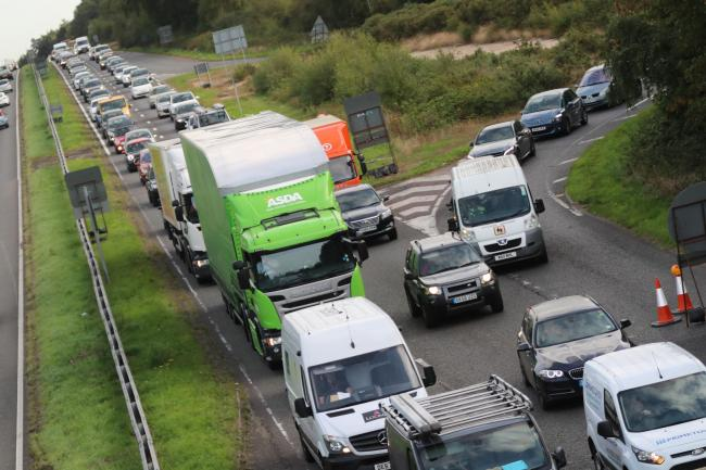 Traffic jams across the area as work continues on the A338 Bournemouth Spur Road near to Blackwater junction. .Traffic on the A338..