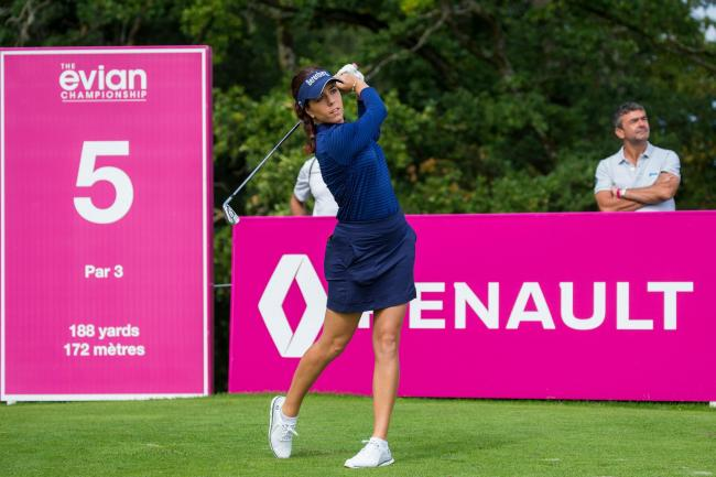 ON THE TEE: Georgia Hall during the second round at the Evian Championship (Picture: Tristan Jones/LET)