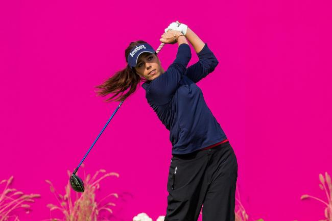 ON THE TEE: Georgia Hall during the final round at the Evian Championship (Picture: Tristan Jones/LET)