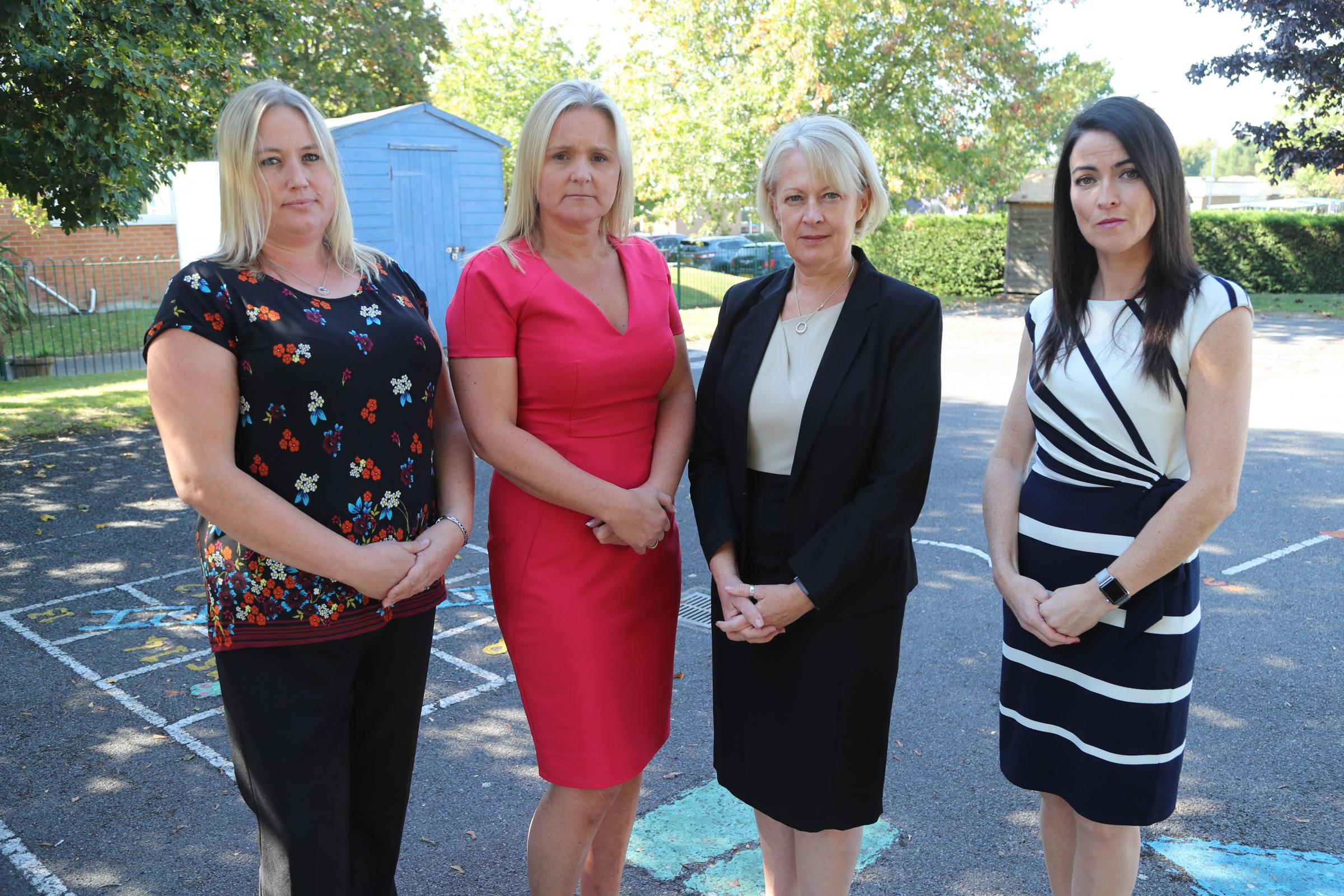 Senior teaching staff from Poole schools who are heading to London to join a national protest calling for funding for schools. .Lucy Waterhouse Head of School for Ad Astra Infant and Haymoor Junior Schools, Kate Carter CEO and Executive Head of the TEACH