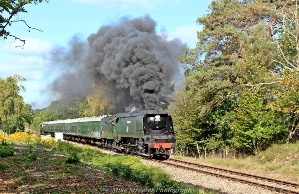 Mike Streeter from the Echo Camera Club  captured the 34072, 257 Squadron locomotive this week during test runs on the Swanage railway line.