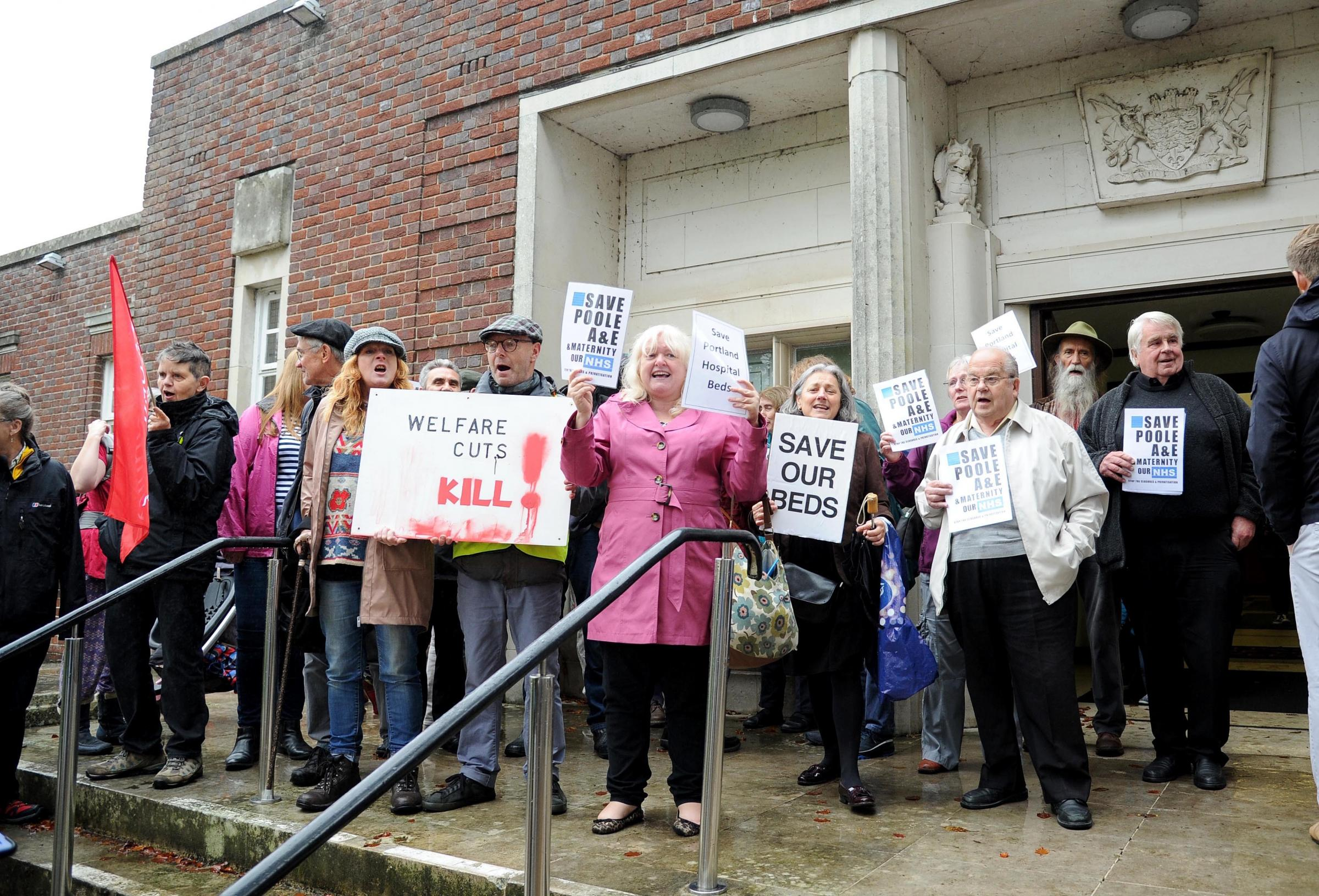 Protesters at County Hall over cuts by Dorset CCG