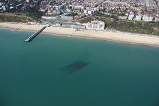 Bournemouth Echo: First picture of the surf reef at Boscombe. Must credit Gary Ellson of Bournemouth Helicopters.