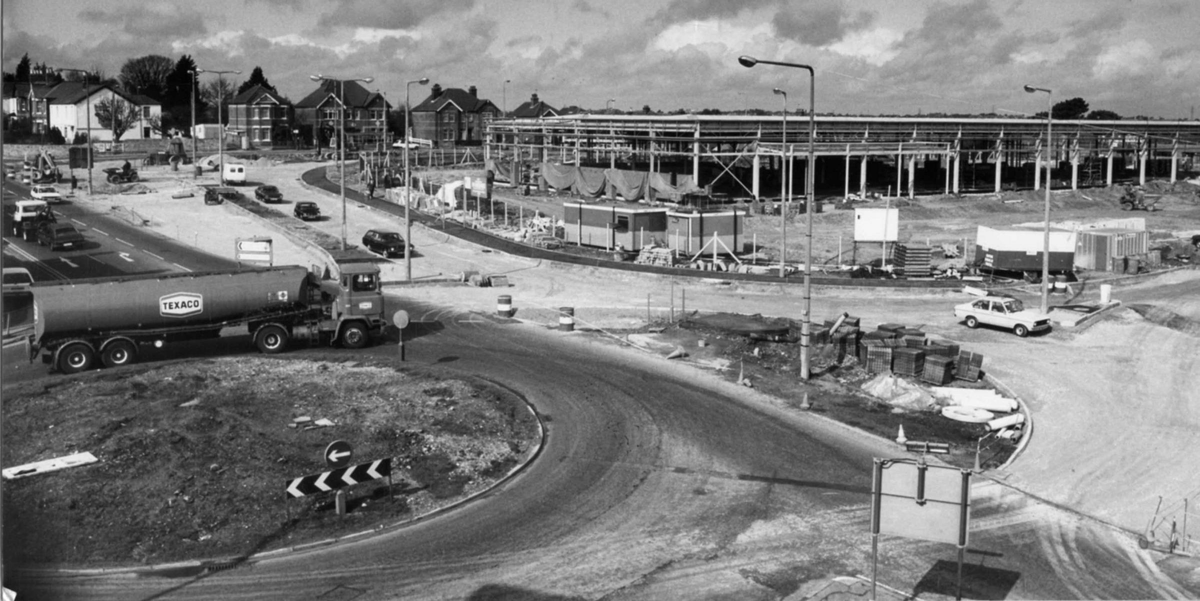 Pottery Junction, Branksome,  pictured in March 1983 as the construction of the new retail park is taking place on the former Redlands Pipes site.