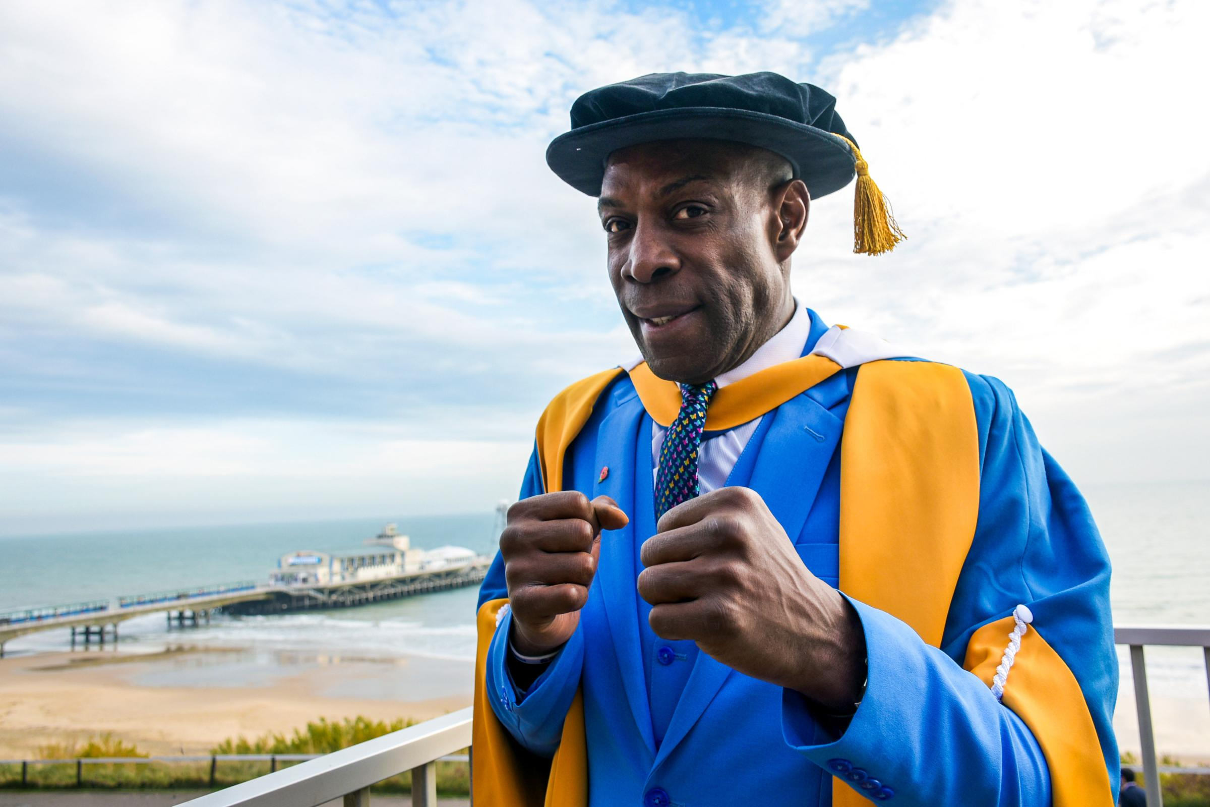 Frank Bruno who recieved an honoury doctorate from Bournemouth University. Picture Christabel Photography