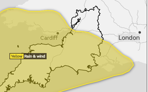 A yellow weather warning has been issued by the Met Office for Friday