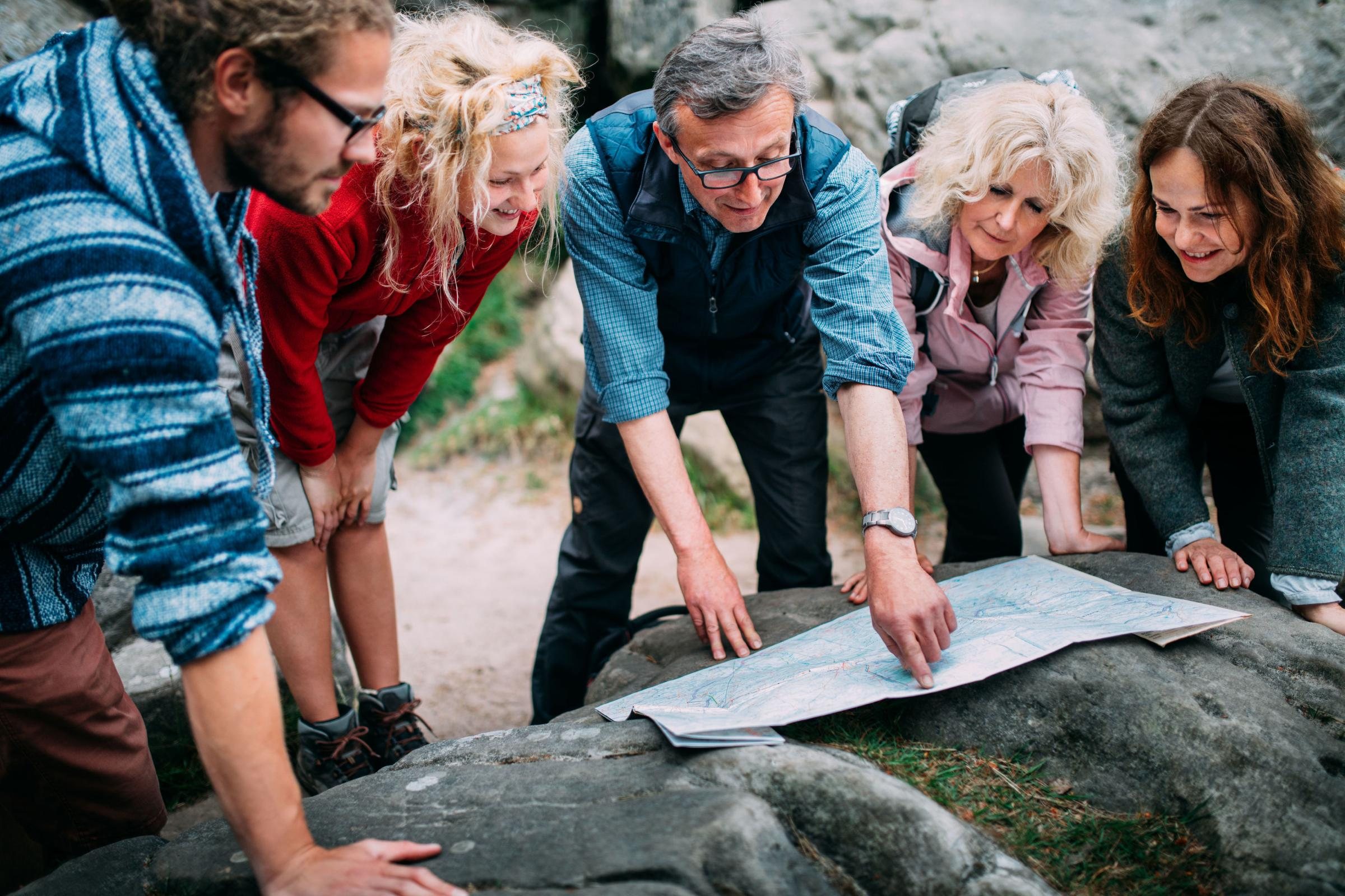 A Generic Photo of hikers planning a route. See PA Feature TOPICAL Travel Solo. Picture credit should read: PA Photo/thinkstockphotos. WARNING: This picture must only be used to accompany PA Feature TOPICAL Travel Solo...
