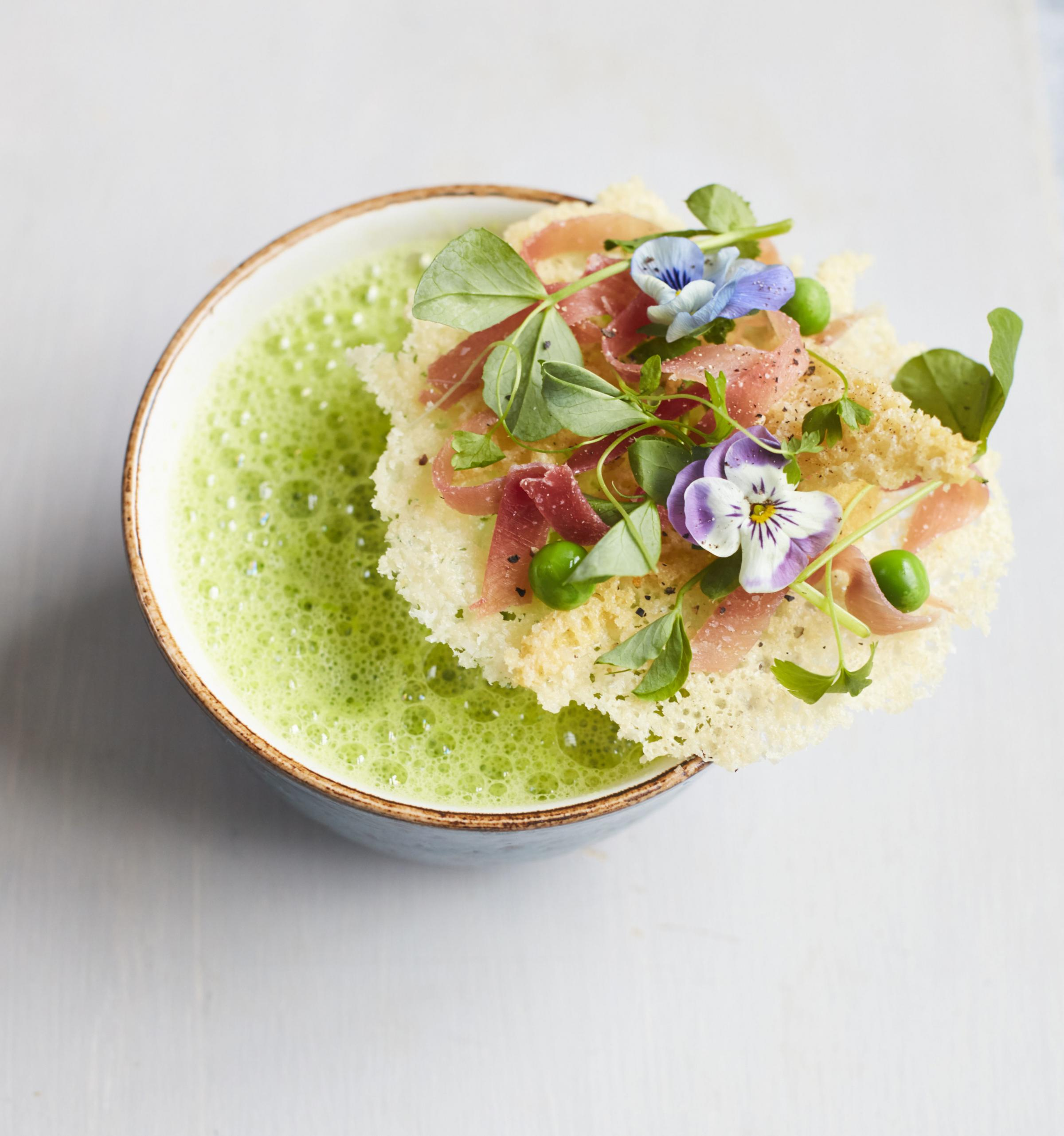 Undated Handout Photo of pea soup from MasterChef Classics With A Twist by DK. See PA Feature FOOD MasterChef. Picture credit should read: PA Photo/David Loftus. WARNING: This picture must only be used to accompany PA Feature FOOD MasterChef.