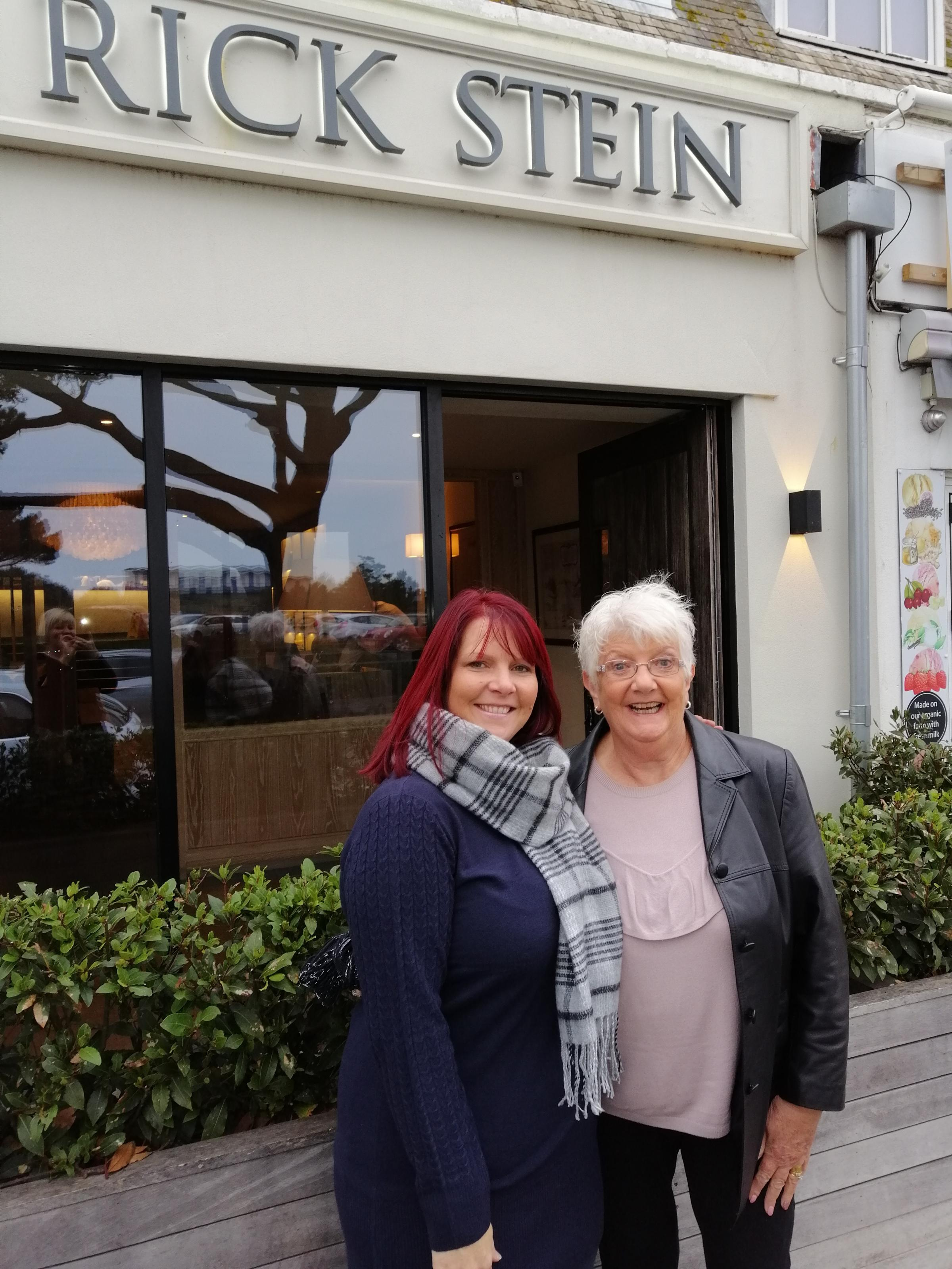 Forest Holme supporter Jo Crabb and her Mum, Rita, outside Rick Stein in Sandbanks