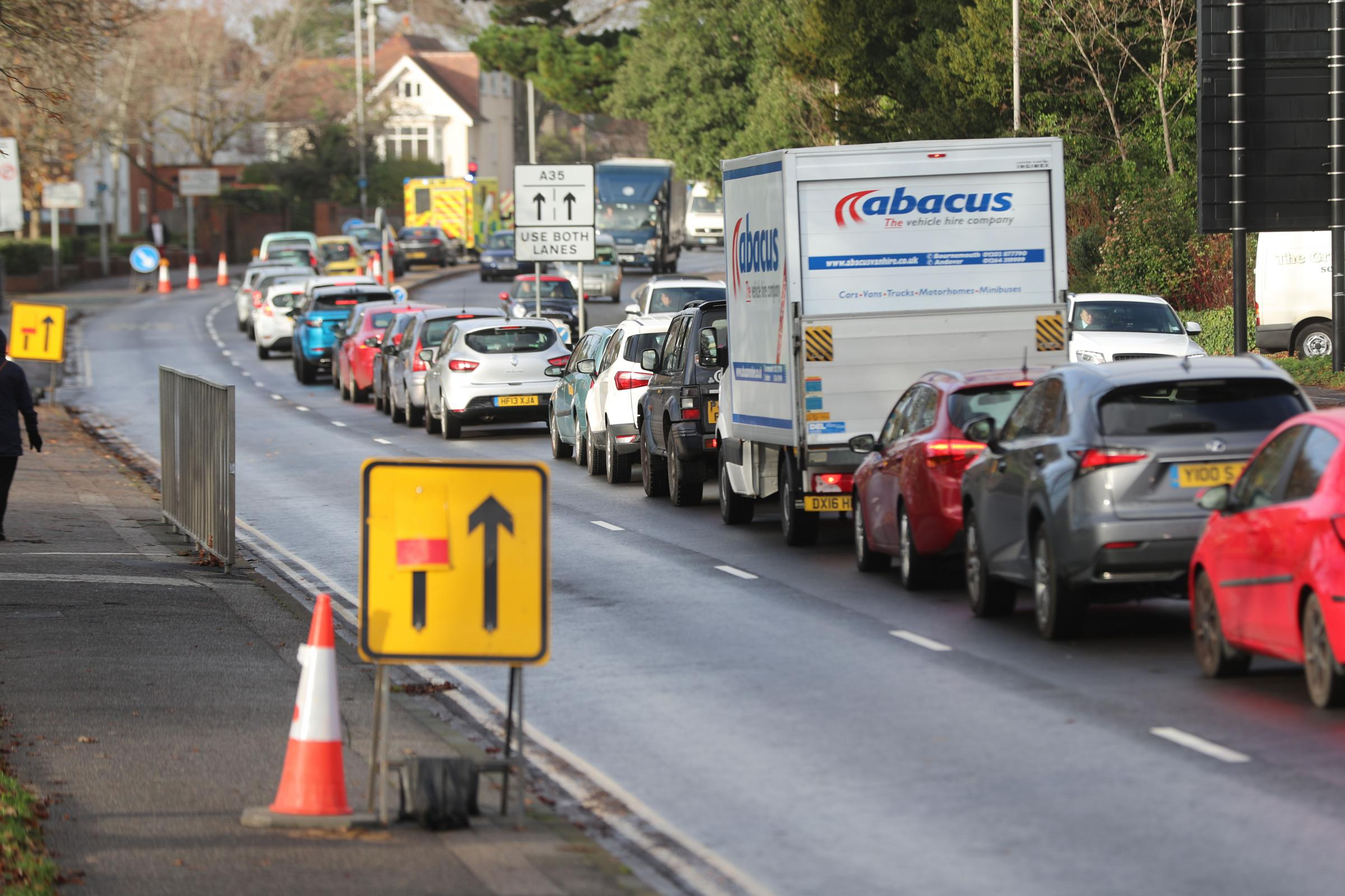 Traffic on Barrack Road in Christchurch..