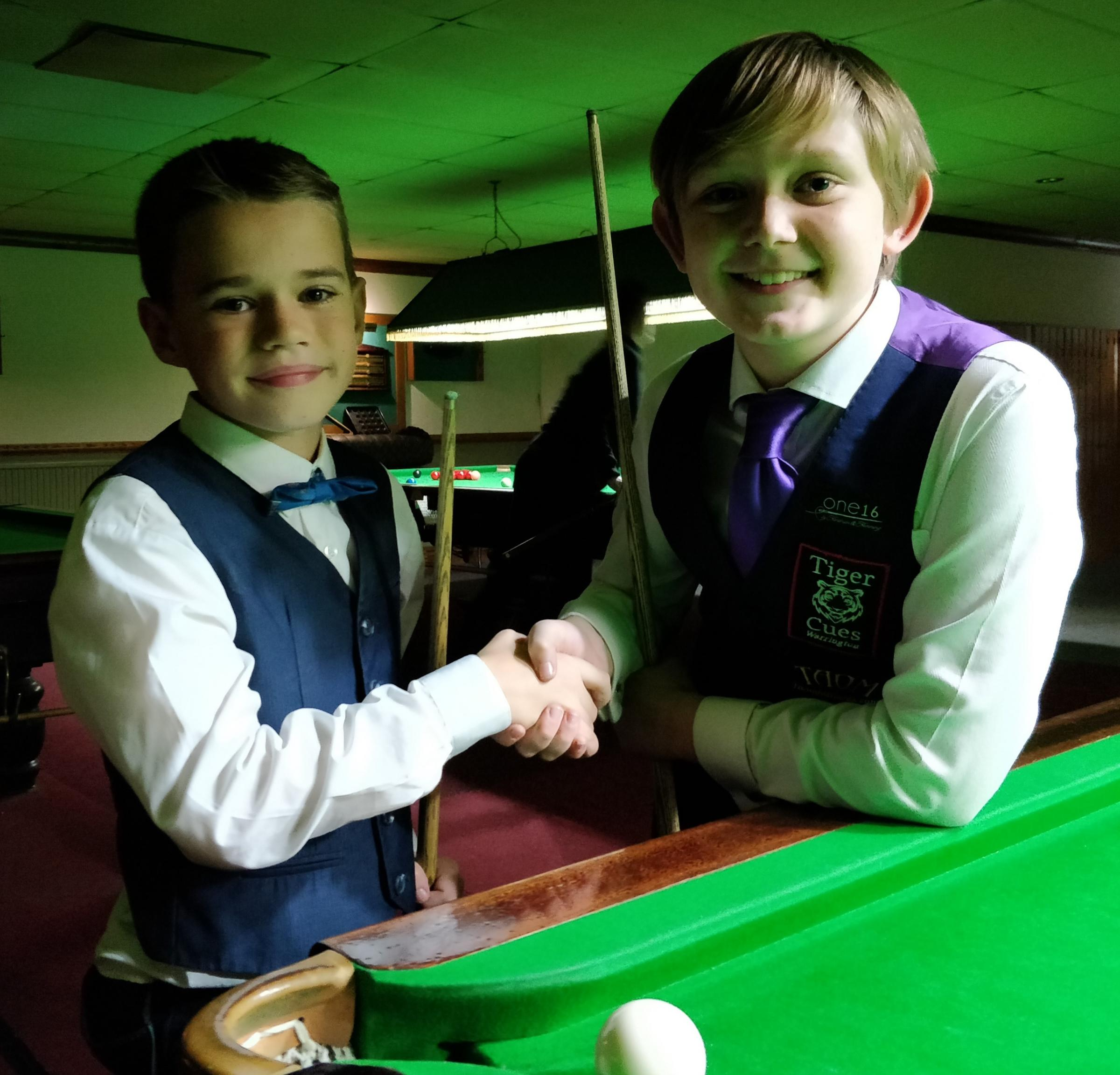 Ferndown snooker ace Harry Wyatt and finalist Dylan Smith